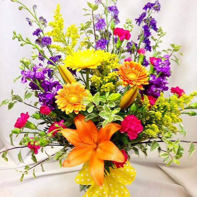 Vase of beautiful bright flowers.