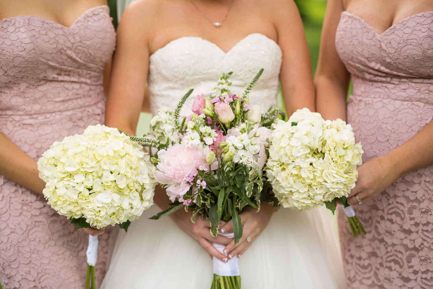 Bride and Bridesmaids pink and white floral bouquets
